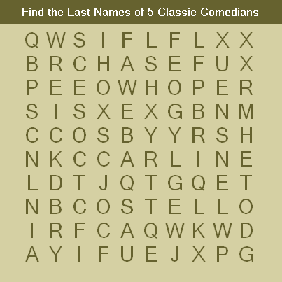 Find the Last Names of 5 Classic Comedians